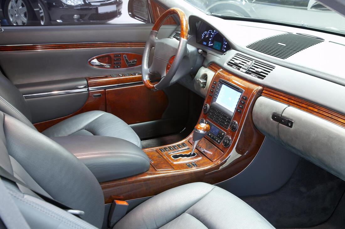 leather wood car interior